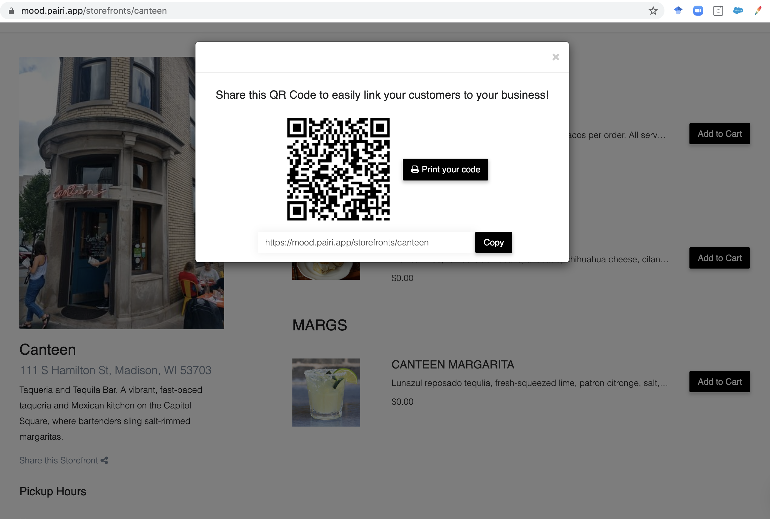 at tables or outside the building, customers can scan your unique MOOD QR code with their phone camera + instantly browse menu options
