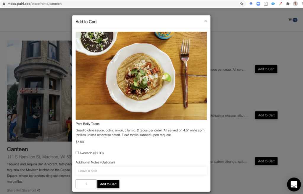 as customers browse, they add items to their virtual cart to build their order. once they're ready, MOOD lets customers check-out + pay for their order safely from their seat + own device. no more customer waits: in lines, crowds, or for their bill.